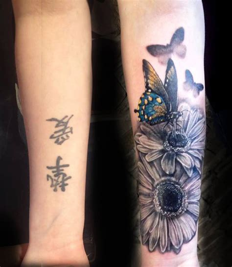 forearm flower tattoos flowers butterflies cover up best design ideas