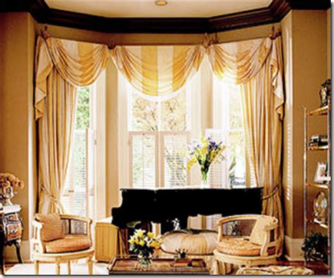 swag curtains for bay windows window treatment ideas for bay windows simplified bee