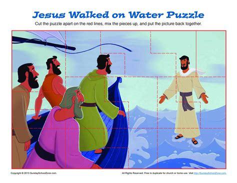 jesus walks  water puzzle bible activities  children