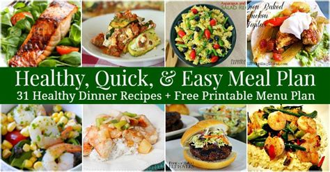 printable easy dinner recipes healthy quick easy meal plan 31 recipes printable