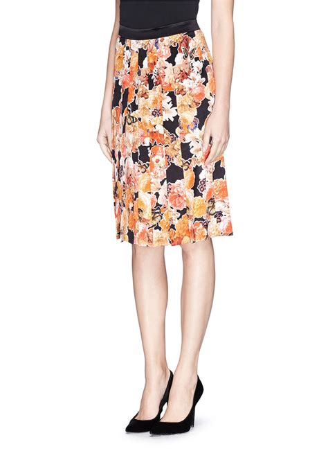 lyst givenchy floral butterfly print satin pleat skirt