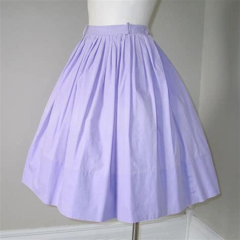 Light Purple Skirt by Vintage 1960s Light Purple Lilac Cotton Skirt S