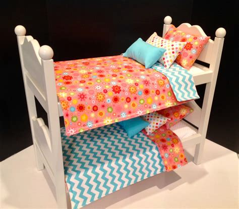 etsy bedding american girl doll furniture white bunk beds by