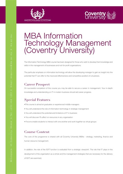 Mba Technical Management by Ibs Mba Information Technology Management