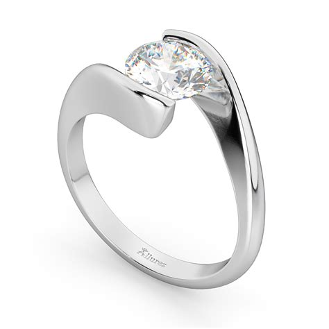 Tension Set Engagement Rings by Tension Set Swirl Solitaire Engagement Ring Setting Palladium