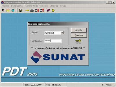 pdt sunat actualizar pdt version no se encuentra vigente metodologia contable 18 feb 2008