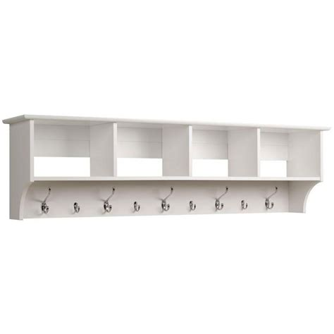 Wall Coat Hooks With Shelf by 60 Inch Hanging Shelf With Coat Hooks In Wall Coat Racks