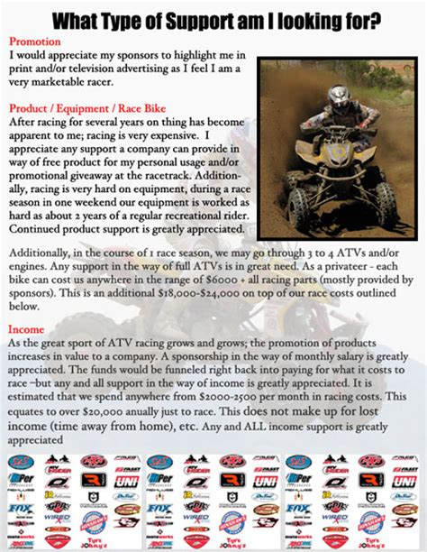 Sponsorship Letter For Riders Atv Racing Sponsorship Etiquette Atv