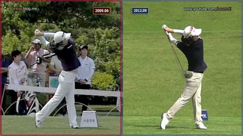 golf swing step by step slow hd kim hye youn driver 2009 vs 2012 step golf swing