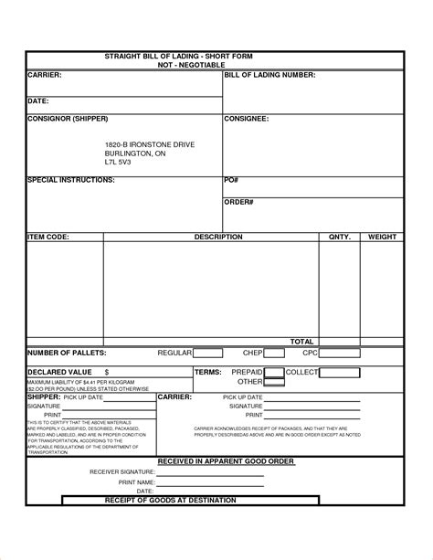 bill of lading template 3 bill of lading formreport template document report