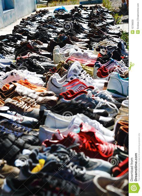 supermarket of shoes flea market shoes stock photos image 15736633