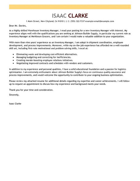 inventory manager cover letter best inventory manager cover letter exles livecareer