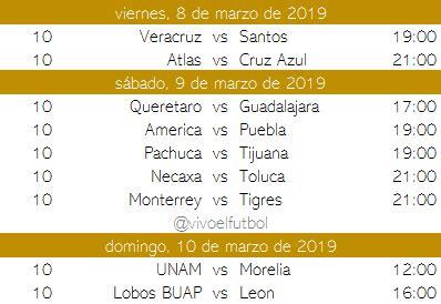 calendario del clausura 2019 del futbol mexicano apuntes