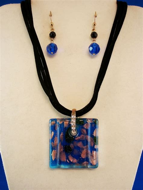 Set Of 2 Pendant Necklace set of necklace earrings 1 1 2 quot blue square stained