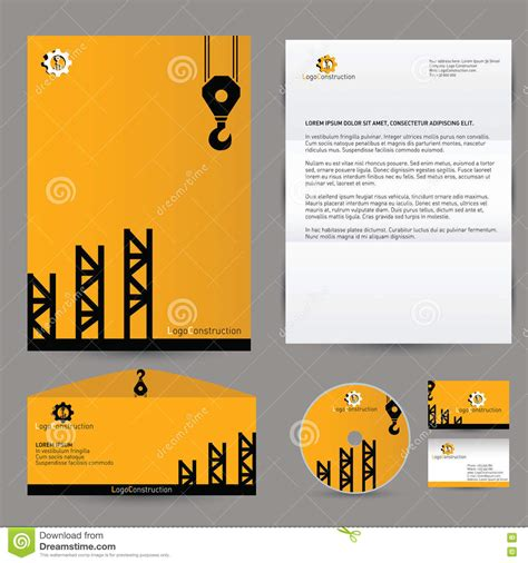 construction id card template vector building corporate branding identity stock vector