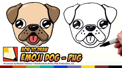 how to draw a pug for how to draw a emoji pug for beginners step by step bp