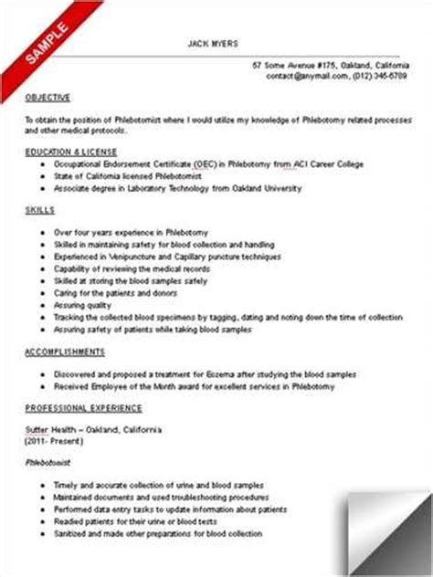 phlebotomist resume objective phlebotomy technician schools