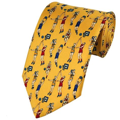 basketball yellow silk novelty tie from ties planet uk