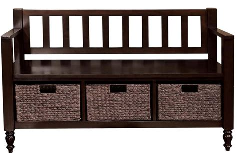 entryway storage bench with baskets amazon com simpli home dakota entryway storage bench w 3