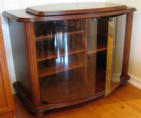 Lazy Susan Cabinet Doors Corner Tv Cabinet With Lazy Susan Top Stain With Glass Doors Ebay
