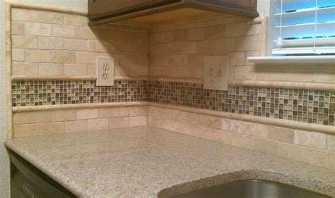 kitchen backsplash travertine subway glass mosaic