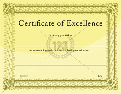 certificate of excellence template certificate