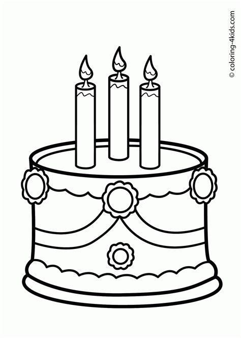 plain cake coloring page cake drawing for kids cake birthday party coloring pages