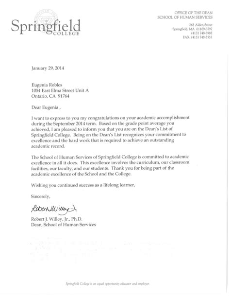 College Letter To Dean Letter From Dean Springfield College