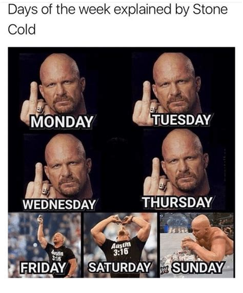 Stone Cold Memes - days of the week explained by stone cold monday tuesday wednesday thursday austim 316 316 friday