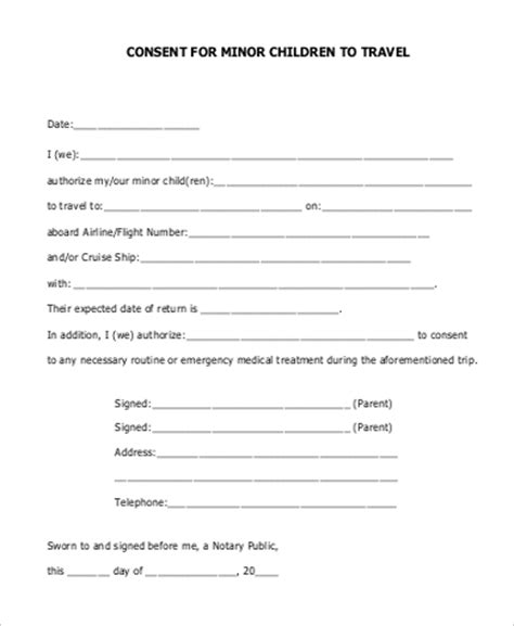 parental consent to travel form template sle child travel consent form 6 exles in word pdf