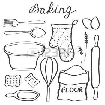 dessin animé de cuisine dessin ustensiles de cuisine ensemble de cuisson
