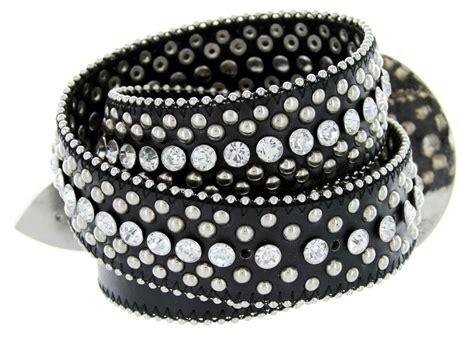 50116 western rhinestone leather belt 1 1 2 quot black