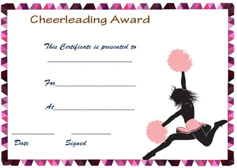 20 Free Printable Cheerleading Certificate Templates For Coaches Kids Demplates Cheer Template
