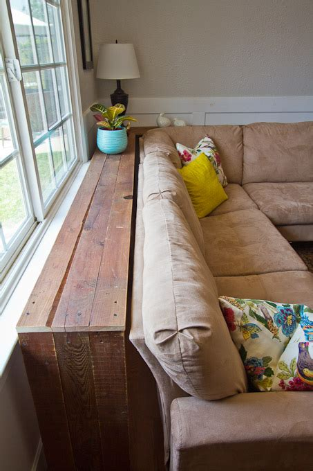 behind the couch bookshelf diy console table