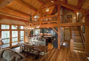 open floor plan log homes i d use a different light maybe a wagon wheel or