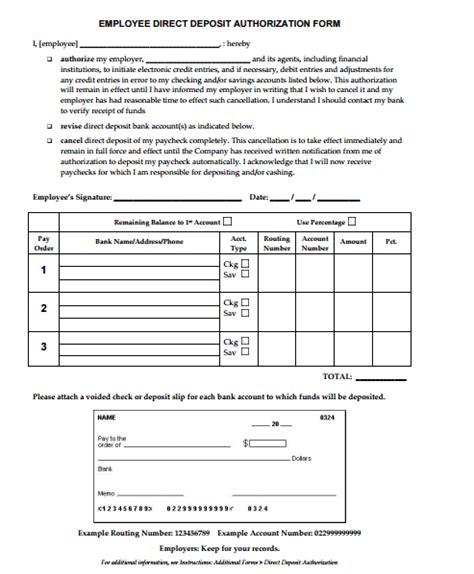 direct deposit forms for employees template 4 direct deposit form templates free sle templates