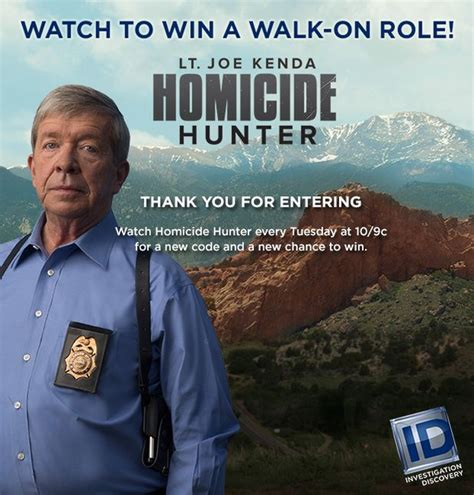 Investigation Discovery Channel Sweepstakes - homicide hunter walk on role giveaway investigation discovery good giveaways i