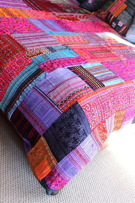 How To Make A Patchwork Quilt Cover - patchwork duvet cover hmong batik embroidery and applique