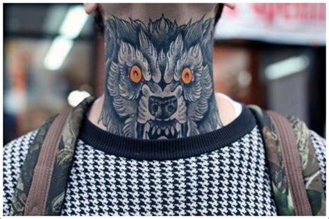wicked tattoos for men mens wolf or neck tattoos neck