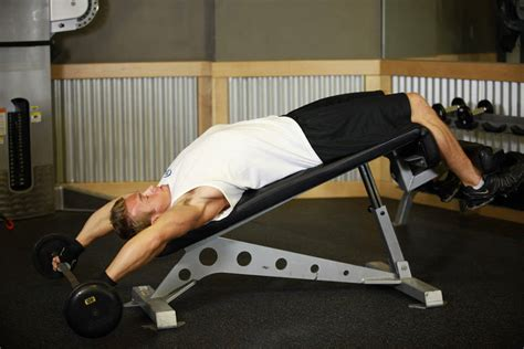 decline bench pullover wide grip decline barbell pullover exercise guide and video