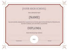 high school diploma certificate template high school diploma template