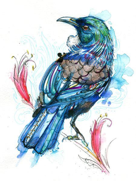 watercolor tattoo new zealand tui print by abby all the design