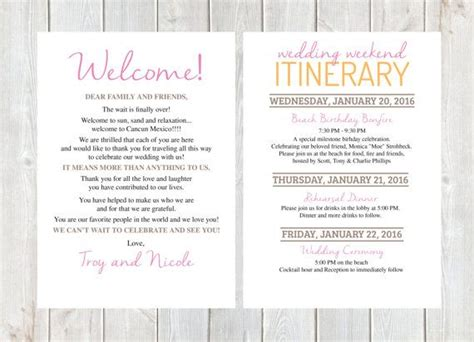 letter wedding  letter wedding itinerary