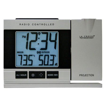 la crosse technology radio controlled or manual projection alarm clock with temperature