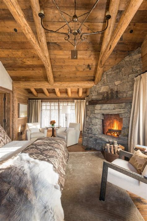 united states log cabin bedroom rustic with large windows