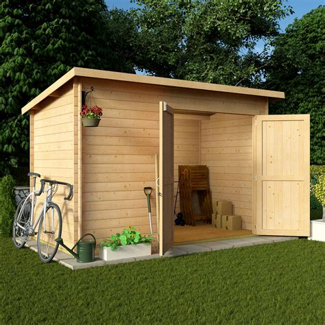 Garden Shed Log Cabin by Billyoh 10 X 6 19mm Pent Log Cabin Windowless Heavy Duty