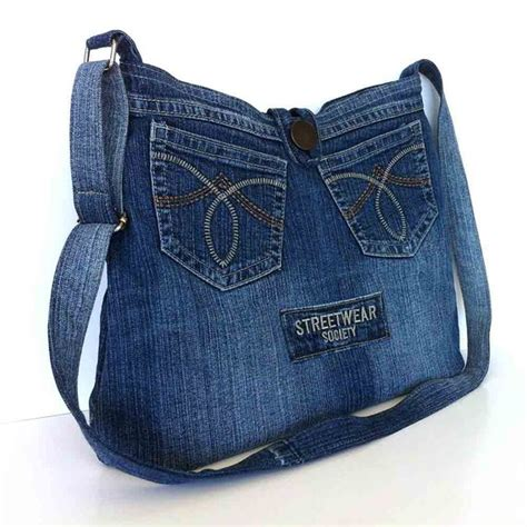 Denim Crossbody Bag crossbody purse recycled denim bag upcycled jean cross