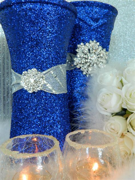 blue themed centerpieces royal blue and silver wedding decor centerpieces wedding