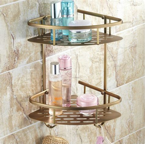 bathroom wall storage baskets beelee bl170a antique elegant double shelves brass