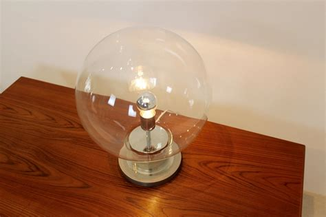 glass globe table large mid century chrome glass globe table l from